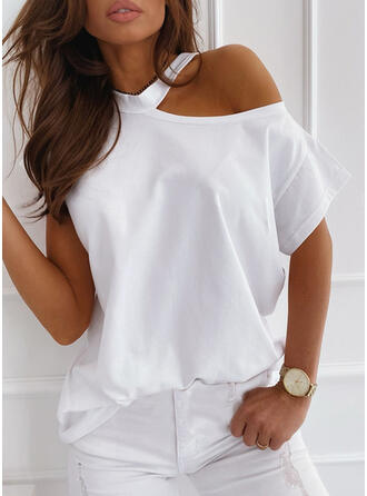 Einfarbig Eine-Schulter Kurze Ärmel Freizeit T-shirts