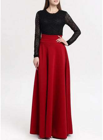 Kunstseide Einfarbig Maxi A-Linie Röcke