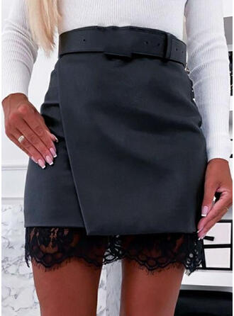 Polyester Lace Mesh Über dem Knie A-Linie Röcke