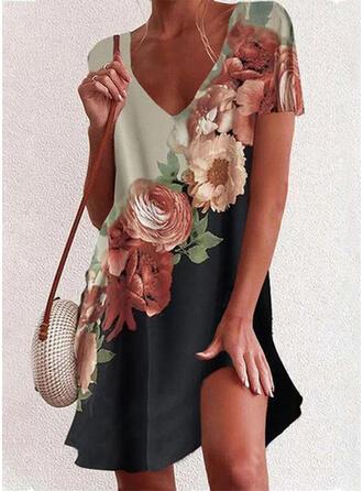 Druck/Blumen/Geblockte Farben Kurze Ärmel Shift Über dem Knie Freizeit/Urlaub Tunika Kleider