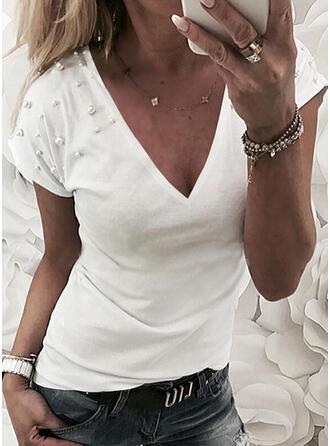 Perlen Einfarbig V-Ausschnitt Kurze Ärmel T-Shirts
