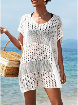 Solid V-Neck Casual Vacation Cover-ups Swimsuits