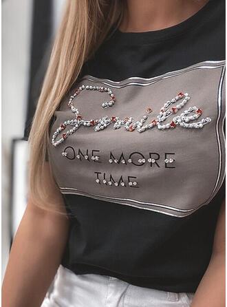 Perlen Figur Druck Pailletten Rundhalsausschnitt Kurze Ärmel T-Shirts