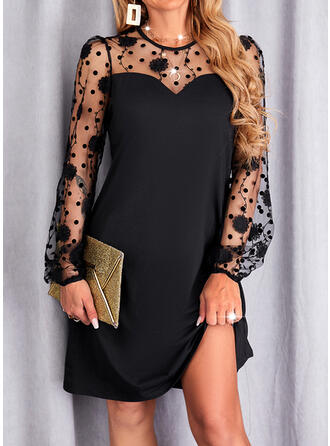 Solid Lace Long Sleeves Puff Sleeve Sheath Above Knee Little Black/Elegant Dresses