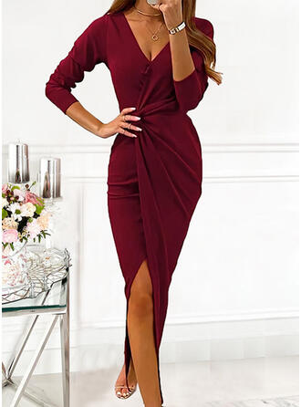 Solid Long Sleeves Sheath Wrap Party/Elegant Maxi Dresses