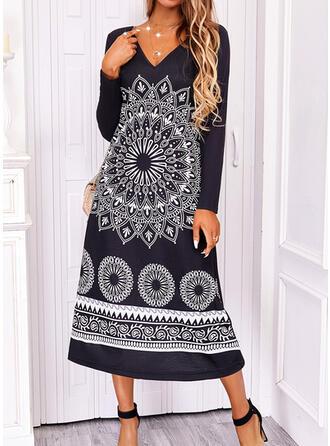 Print Short Sleeves Shift Boho Midi Dresses
