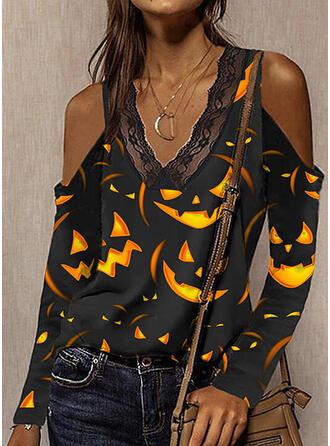 Halloween Imprimé Dentelle Accueil froid Manches Longues T-shirts