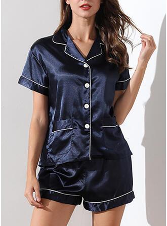 V-Ausschnitt Kurze Ärmel Streifen Lässige Kleidung Top & Short Sets