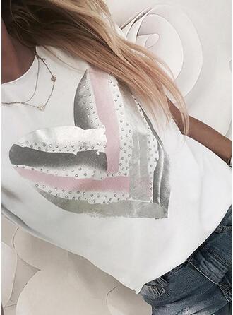 Herz Druck Pailletten Rundhalsausschnitt Kurze Ärmel T-Shirts