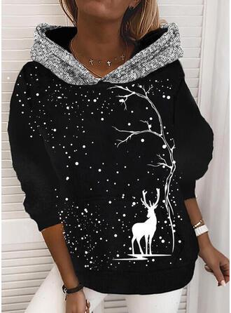 Tierdruck Pailletten Lange Ärmel Weihnachts-Sweatshirt
