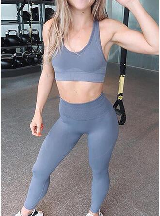Träger U-Ausschnitt Ärmellos Einfarbig Sportgamaschen Sport-BHs Yoga-Sets