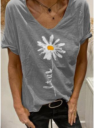 Figur Blumen Druck V-Ausschnitt Kurze Ärmel T-Shirts