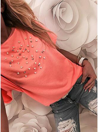 Perlen Einfarbig Rundhalsausschnitt Kurze Ärmel T-Shirts