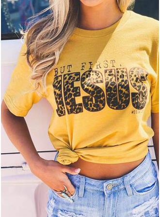 Leopard Druck Buchstaben Rundhalsausschnitt Kurze Ärmel T-Shirts