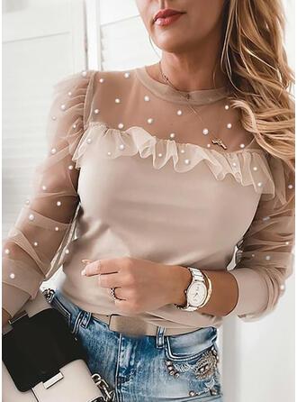 Einfarbig Perlen Rundhalsausschnitt Lange Ärmel Elegant Blusen