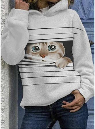 Print Animal Hooded Long Sleeves Hoodie