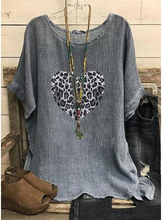 Leopard Herz Pailletten Rundhalsausschnitt Kurze Ärmel T-Shirts