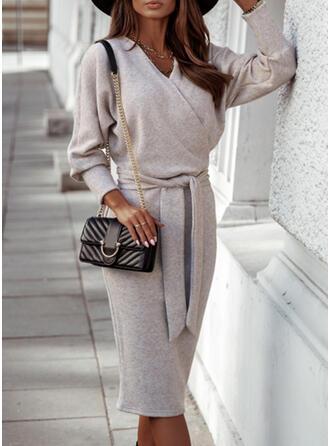 Einfarbig Lange Ärmel Etui Elegant Midi Kleider