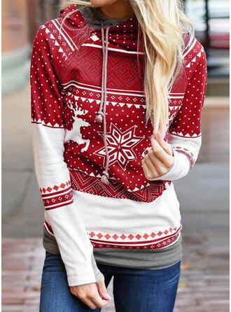 Baumwolle Polyester Drucken Weihnachten Weihnachts-Sweatshirt