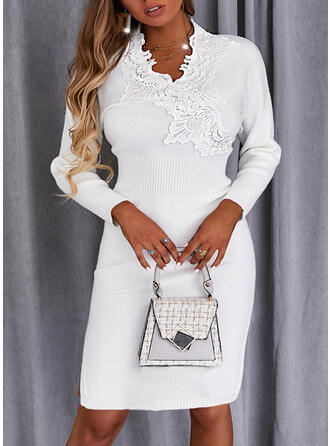 Solid Lace Long Sleeves Dropped Shoulder Sheath Knee Length Casual Sweater Dresses