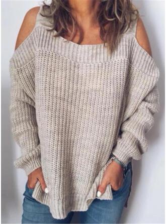 Einfarbig Kalte Schulter Freizeit Pullover