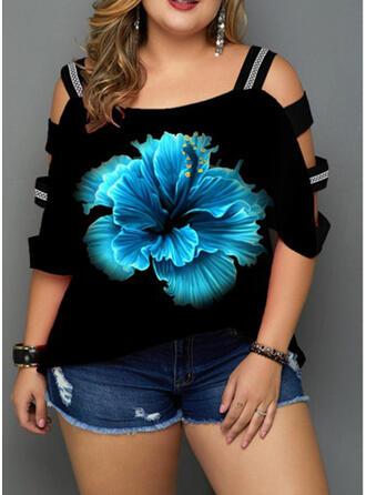 Drucken Blumen Kalte Schulter 3/4 Ärmel Freizeit Große Größen T-shirts