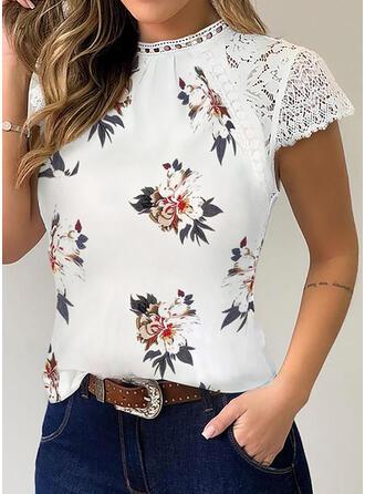 Drucken Blumen Patchwork Spitze Rundhalsausschnitt Kurze Ärmel Freizeit T-shirts