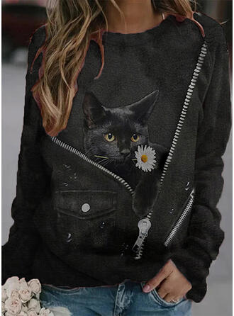 Floral Animal Round Neck Long Sleeves T-shirts