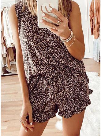 Polyester Ärmellos Übergröße Tierdruckmuster Verlockend Leopard Pyjama Set