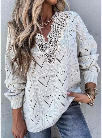 Einfarbig Spitze Herz V-Ausschnitt Freizeit Pullover