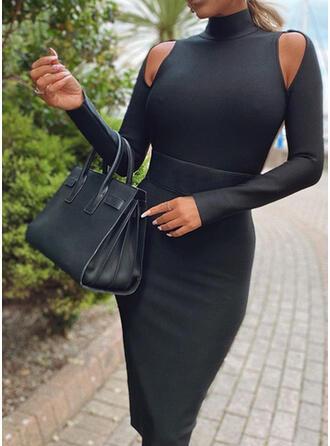 Einfarbig Lange Ärmel Figurbetont Knielang Kleine Schwarze/Sexy Bleistift Kleider