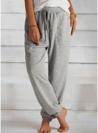 Einfarbig Übergröße Kordelzug Lässige Kleidung Sportlich Lounge Pants