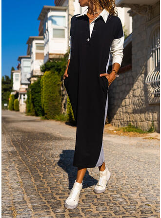 Color Block Long Sleeves Shift Casual Maxi Dresses