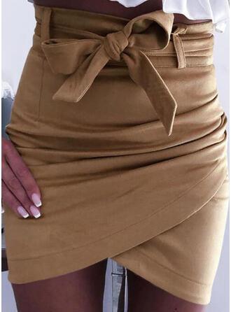 Polyester gestreift Einfarbig Über dem Knie Bodycon Röcke