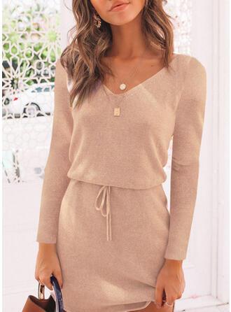 Einfarbig V-Ausschnitt Pullover
