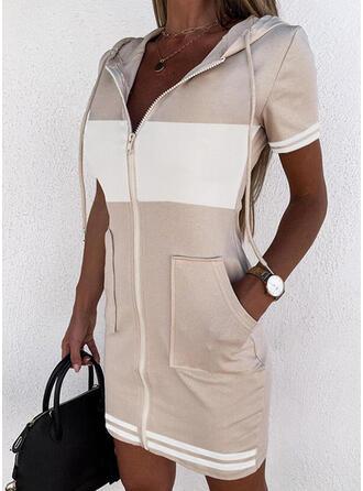 Color Block/Striped Short Sleeves Bodycon Above Knee Casual Sweatshirt Dresses