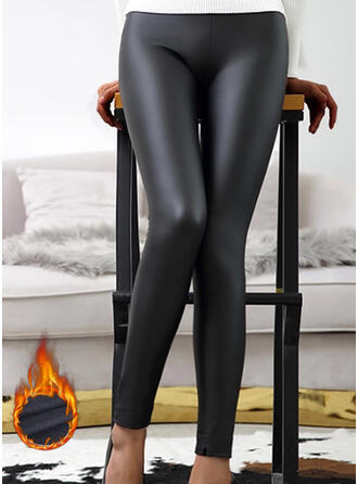 Solid Sequins PU Long Sexy Plus Size Pants