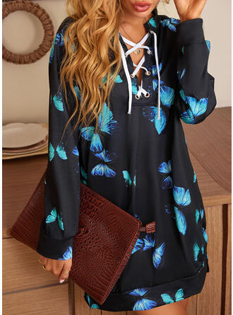 Animal Long Sleeves Dropped Shoulder Sheath Above Knee Casual Dresses