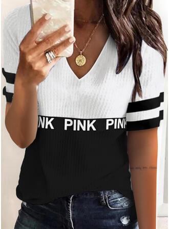 Farbblock Figur Druck V-Ausschnitt Kurze Ärmel T-Shirts