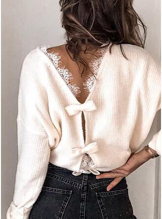 Einfarbig Spitze Rundhalsausschnitt Freizeit Pullover