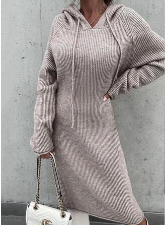 Solid Long Sleeves Raglan Sleeve Shift Sweater Casual Midi Dresses