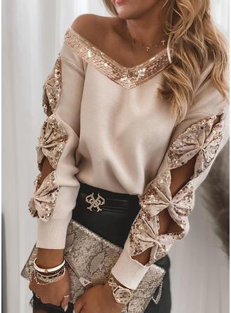 Einfarbig Pailletten V-Ausschnitt Freizeit Pullover
