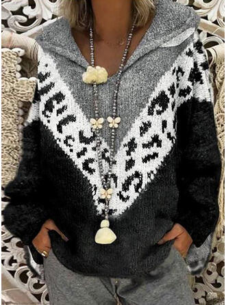 Drucken Geblockte Farben Grobstrick Leopard Mit Kapuze Freizeit Pullover