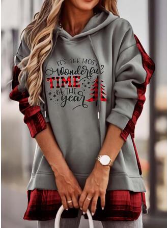 Print Grid Letter Long Sleeves Christmas Sweatshirt