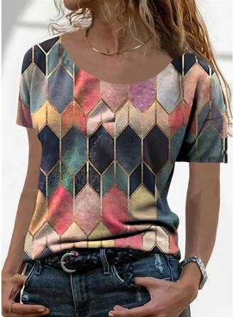Geometrischer Druck Rundhalsausschnitt Kurze Ärmel T-Shirts
