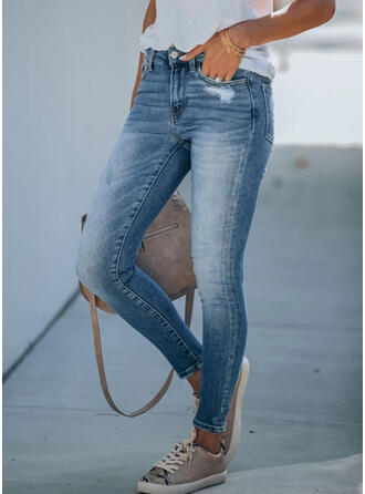 Shirred Übergröße Zerrissen Elegant Dünn Denim Jeans