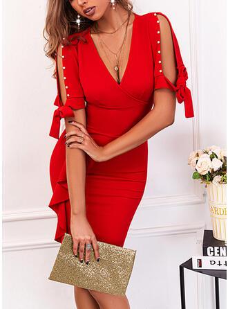 Solid Short Sleeves Slit Sleeve Bodycon Knee Length Elegant Dresses