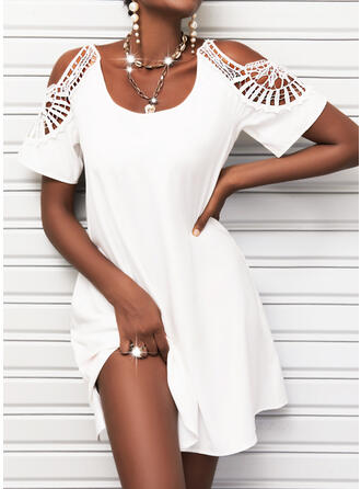 Solid Lace Short Sleeves Cold Shoulder Sleeve Shift Above Knee Casual Tunic Dresses