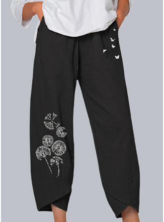 Print Dandelion Animal Butterfly Cropped Casual Pocket Pants Lounge Pants