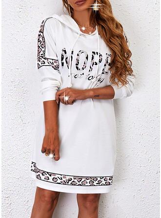 Print/Leopard/Letter Long Sleeves Shift Above Knee Casual Sweatshirt Dresses